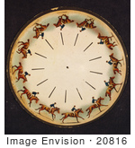 #20816 Stock Photography of a Zoopraxiscope Motion Picture Disk of a Man Riding a Galloping Horse by JVPD