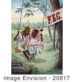 #20817 Stock Photography Of A Vintage Kidney Remedy Advertisement Of Caricatures Of An African American Couple On A Swing