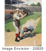 #20820 Stock Photography of a Baseball Player Sliding to Home Base While the Catcher Reaches Out to Catch the Ball by JVPD