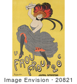 #20821 Stock Photography of a Female Can Can Dancer Holding a Copy of Le Frou Frou on a Vintage Advertisement by JVPD