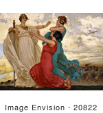#20822 Stock Photography Of A Vintage Italian World War Poster Of Three Women In Gowns One Holding A Sword