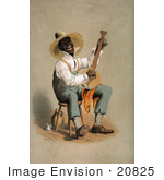 #20825 Stock Photography Of An African American Man In A Straw Hat Playing A Banjo