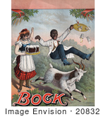 #20832 Stock Photography of a Vintage Advertisement for Bock Beer Showing a Billy Goat Bumping Into a Waiter Who Spills His Beers by JVPD