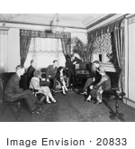 #20833 Stock Photography of Atwater Kent and Group of People Listening to a Radio in Hamilton Hotel by JVPD