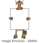 #20844 Cow Holding A Blank Sign Clipart