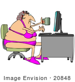 #20848 Chubby Woman With Her Hair In Curlers Wearing A Bra And Panties Smoking And Drinking Coffee While Using A Computer Clipart