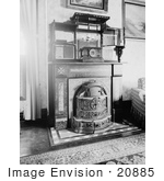 #20885 Stock Photography of Old Fashioned Franklin Fireplace at the Elliot House, Petersburg by JVPD