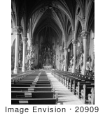 #20909 Stock Photography of Pews, Nave and Chancel in the St. Michael the Archangel Roman Catholic Church, Cleveland, Ohio by JVPD