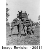 #20914 Stock Photography Of Edward Vii King Of Great Britan Standing By An Elephant With A Howdah Carriage