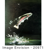 #20971 Clipart Image Illustration of a Rainbow Trout Fish Jumping Out of the Water After Biting a Fishing Hook by JVPD