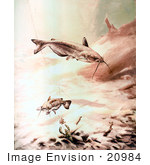 #20984 Clipart Image Illustration Of Channel Catfish Swimming By A Crawdad And Fishing Hook