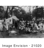 #21020 Stock Photography of Three Sumo Wrestlers in Japan, 1905 by JVPD