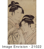 #21022 Stock Photography Of Two Asian Women With A Scroll