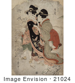 #21024 Stock Photography Of The Asian Courtesan Michinoku With Attendant
