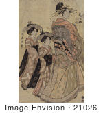 #21026 Stock Photography Of The Asian Courtesian Somenosuke With Two Attendants