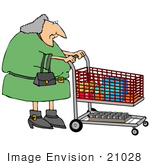 #21028 Gray Haired Woman Pushing A Shopping Cart In A Grocery Store People Clipart