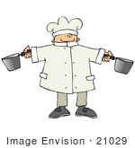 #21029 Male Chef Holding Two Pots In A Kitchen People Clipart