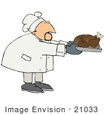 #21033 Male Chef In A Chefs Hat Holdinga Thanksgiving Turkey In A Roasting Pan People Clipart