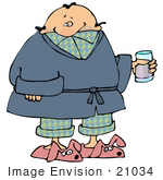 #21034 Ill Man in PJs, Slippers and a Robe, Taking Cold Medicine While Staying Home on a Sick Day People Clipart by DJArt