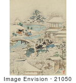 #21050 Stock Photography of Samurai Warriors Attacking Men in a Winter Village by JVPD
