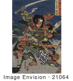 #21064 Stock Photography of the Samurai Warriors Ichijo Jiro Tadanori and Notonokami Noritsune by JVPD