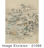 #21066 Stock Photography Of Samurai Warriors Searching A Village For Escapees During A Winter Attack