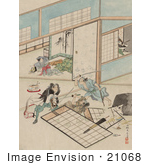 #21068 Stock Photography Of Three Samurai Warriors Combating In A Building