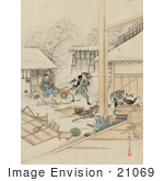 #21069 Stock Photography Of Samurai Warriors Assaulting Villagers During An Attack