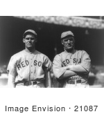 #21087 Stock Photography of Boston Red Sox Baseball Players Dutch Leonard and Bill Carrigan by JVPD
