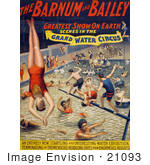 #21093 Stock Photography Of Barnum And Bailey Grand Water Circus Showing Divers And Swimmers