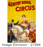 #21094 Stock Photography Of Miss Louise Hilton Of The Gentry Bros Circus Crouching On A White Horse