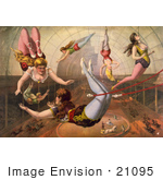 #21095 Stock Photography Of Six Female Acrobats Performing Under The Big Top On Trapezes