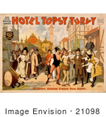 #21098 Stock Photography Of A Vintage Circus Poster For The Musical Comedy &Quot;Hotel Topsy Turvy&Quot;
