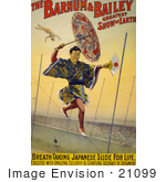 #21099 Stock Photography Of A Japanese Tightrope Walker Carrying An Umbrella And Hand Fan While Walking On A Tightrope