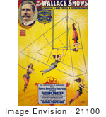 #21100 Stock Photography of the Great Wallace Shows Circus Poster of the Triple Revolving Trapeze of the Sisters Vortex by JVPD