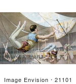 #21101 Stock Photography of Spectators Watching 5 Male Trapeze Artists Performing Under the Big Top by JVPD