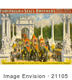 #21105 Stock Photography Of Circus Parade Elephants Going Through The Dewey Arch