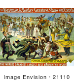 #21110 Stock Photography Of A Barnum And Bailey Poster Of Circus Entertainers Camels And Dancers