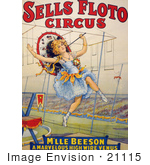 #21115 Stock Photography Of A Female Tight Rope Walker Performing For The Sells Floto Circus