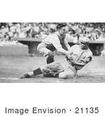 #21135 Stock Photography of Bing Miller Being Tagged Out at Home Plate by Muddy Ruel During a Baseball Game in 1925 by JVPD