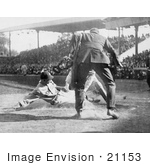 #21153 Stock Photography Of A Baseball Umpire Prepared To Make The Call As A Catcher Tags A Runner