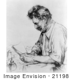 #21198 Stock Photography Of Albert Schweitzer Holding Papers And Sitting At A Desk