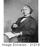 #21219 Stock Photography Of Charles Sumner Seated With A Book In His Lap And Holding Spectac
