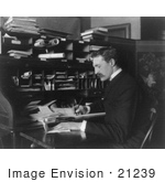 #21239 Stock Photography Of Gifford Pinchot Seated And Writing At A Desk