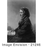 #21246 Stock Photography Of Harriet Beecher Stowe Author Of Uncle Tom'S Cabin Holding A Pencil And Notebook In Her Lap