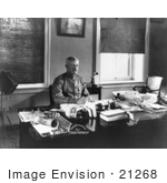 #21268 Stock Photography Of John Joseph Pershing Sitting At A Desk