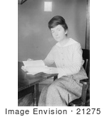 #21275 Stock Photography Of Margaret Sanger Founder Of Planned Parenthood Reading A Book At A Desk