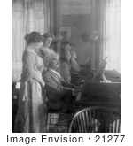 #21277 Stock Photography Of Samuel Clemens/Mark Twain Playing A Piano For His Wife Clara Clemens And Marie Nichols