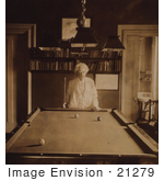 #21279 Stock Photography of Mark Twain Playing a Game of Pocket Billiards (Pool) in 1908 by JVPD