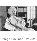 #21282 Stock Photography of Mark Twain Holding a Tobacco Pipe and Sitting in a Chair by JVPD